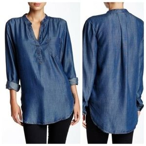 Joan Vass Studio Chambray Blue Tunic Top Pocket L